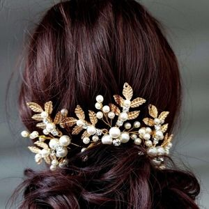 Gold 3pc Bride pin Pearl Leaf Hairpiece party ball